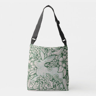 Green and White Rabbit Tote Purse Floral Bird