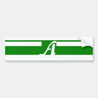 Green and White Random Stripes Monogram Bumper Stickers