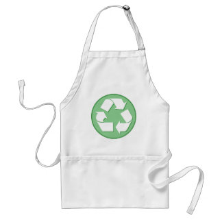 Green and White Recycle Sign Standard Apron