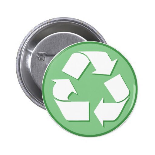 Green and White Recycle Sign Pins