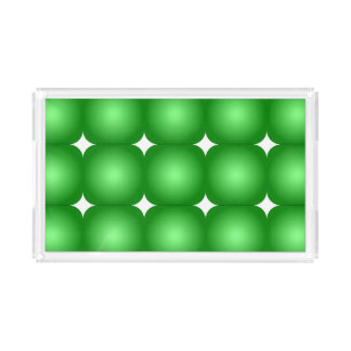 Green And White, Round Edges Acrylic Tray