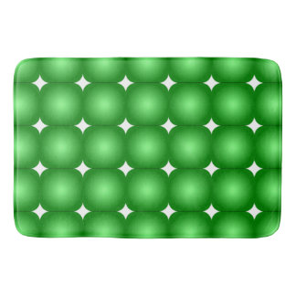 Green And White, Round Edges Bath Mat