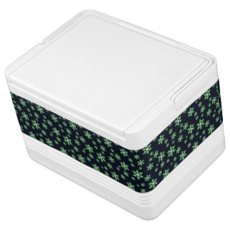 Green and White Snowflakes w/Blue Background Cooler