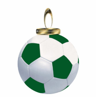 Green and White Soccer Ball Ornament Photo Sculpture Decoration