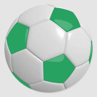 Green and White Soccer Ball Round Sticker