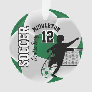 Green and White Soccer Goalie Boy Ornament