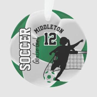 Green and White Soccer Goalie Girl Ornament