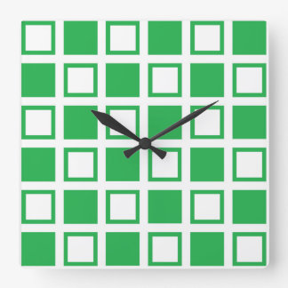Green and White Squares Square Wall Clock
