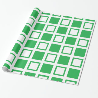 Green and White Squares Wrapping Paper