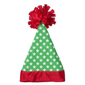Green And White Star Pattern Santa Hat