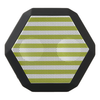 Green and White Stripe Pattern Black Bluetooth Speaker