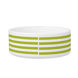Green and White Stripe Pattern Bowl