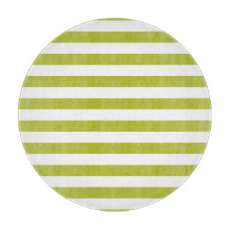 Green and White Stripe Pattern Cutting Board
