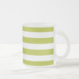 Green and White Stripe Pattern Frosted Glass Coffee Mug