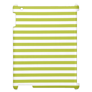 Green and White Stripe Pattern iPad Cover