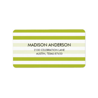 Green and White Stripe Pattern Label