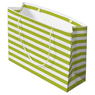 Green and White Stripe Pattern Large Gift Bag