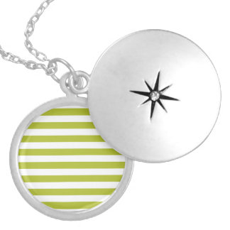 Green and White Stripe Pattern Locket Necklace