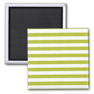 Green and White Stripe Pattern Magnet