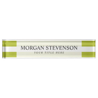 Green and White Stripe Pattern Nameplate