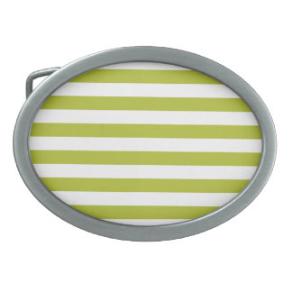 Green and White Stripe Pattern Oval Belt Buckles