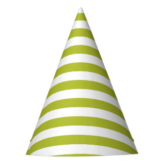 Green and White Stripe Pattern Party Hat