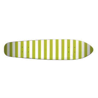 Green and White Stripe Pattern Skateboard Deck