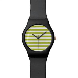 Green and White Stripe Pattern Watch