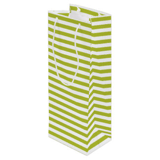 Green and White Stripe Pattern Wine Gift Bag