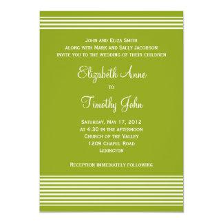 Green and White Striped Wedding Invitation