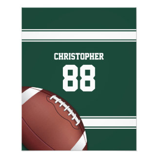 Green and White Stripes Jersey Grid Iron Football Photograph