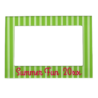 Green and White Stripes With Pink Personalized Magnetic Picture Frame