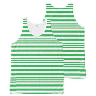 Green and White Stripes X 3 All-Over Print Singlet