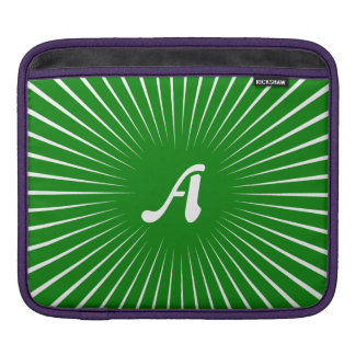 Green and White Sunrays Monogram Sleeves For iPads