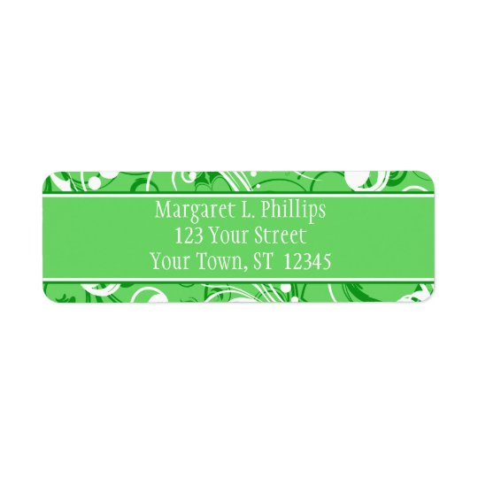 Green and White Swirls Label Return Address Label