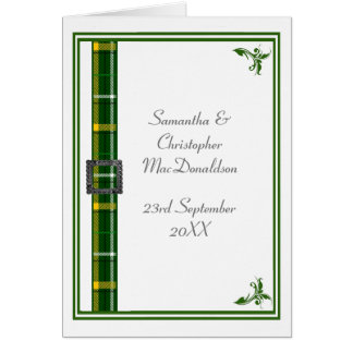 Green and white tartan ribbon card