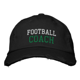 Green and White Text Football Coach Hat Baseball Cap
