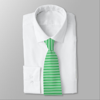Green and White Thick and Thin Stripes Tie