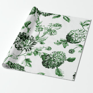 Green And White Vintage Botanical Floral Toile Wrapping Paper