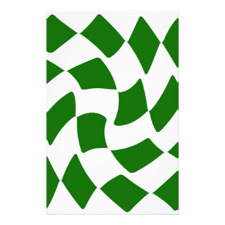 Green and White Warped Checkerboard Personalized Stationery