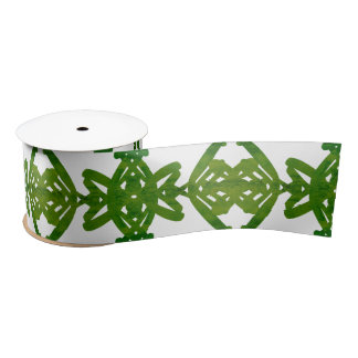 Green and White Watercolor Brush Swirl Pattern Satin Ribbon