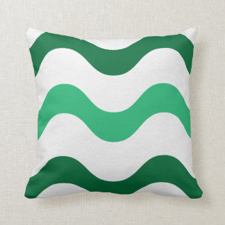 Green and White Waves American MoJo Pillows