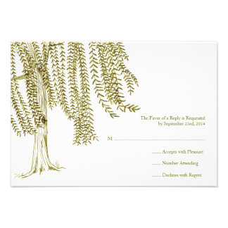 Green and White Willow Tree Wedding RSVP Personalized Invite