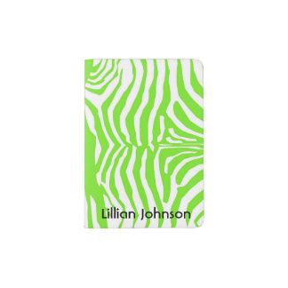 Green and White Zebra Passport Holder