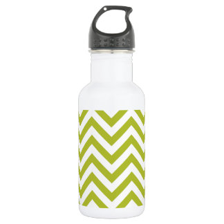 Green and White Zigzag Stripes Chevron Pattern 532 Ml Water Bottle