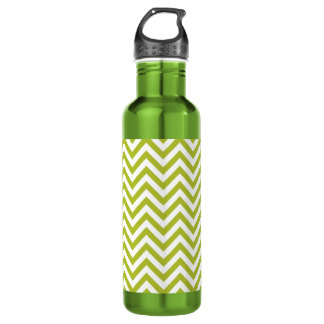 Green and White Zigzag Stripes Chevron Pattern 710 Ml Water Bottle
