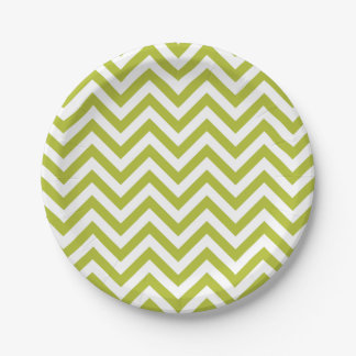 Green and White Zigzag Stripes Chevron Pattern 7 Inch Paper Plate