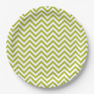 Green and White Zigzag Stripes Chevron Pattern 9 Inch Paper Plate