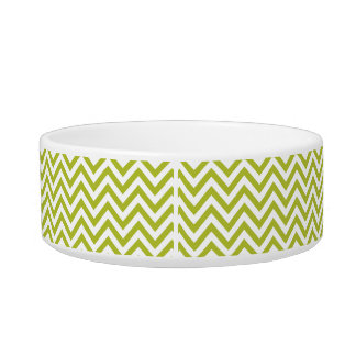 Green and White Zigzag Stripes Chevron Pattern Bowl
