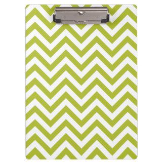 Green and White Zigzag Stripes Chevron Pattern Clipboard